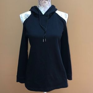Three Days Black Hooded Sweatshirt Cold Shoulder S